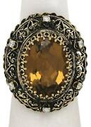 Antique Black Finished Diamond And Citrine Gemstone Oval 14k Gold Cocktail Ring