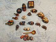Lacquered Paper Mache Boxes And Wildlife Boxes And Eggs Lot Of 35 Pieces