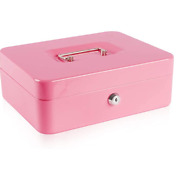 Money Box With Cash Tray And Lock Pink Large Cashvaluables Metal Lockbox