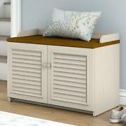 Bush Furniture Fairview Shoe Storage Bench In Antique White And Tea Maple