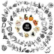 80 Pieces Halloween Decorations Charms Pendants Diy Jewelry Making Charms