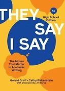 They Say / I Say By Gerald Graff 9780393542271   Brand New   Free Us Shipping