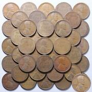 1924 S Lincoln Wheat Cent Roll 50 Circulated Pennies Us Coins