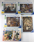 Ravensburger Lot Of 5 Puzzles 4 500 1 300 Piece All Complete Excellent