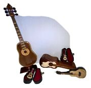 Lot Of 5 Miniature Guitars, One Is Wood Puzzle Box