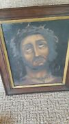 Antique Framed Oil On Canvas Painting Of Jesus 12 X 10