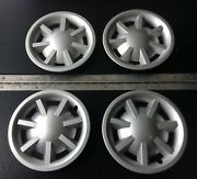 Set Of 4 Used Silver 8 Hubcaps For E-z-go, Club Car, Or Yamaha Golf Cart