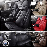 5d Full Set Cushion Car Seat Cover Leather Wrap Protector For 5-seats Suv Truck