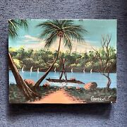 Vintage 60s 70s Small Original Signed Tropical Painting Mid Century Man In Boat