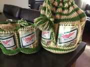 Vintage Crocheted Beer Can Bucket Hat And Matching Purse/bag Genesee Wallet
