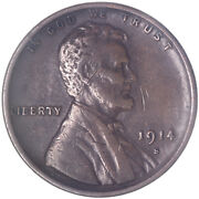 1914 S Lincoln Wheat Cent Very Fine Penny Vf See Pics L009