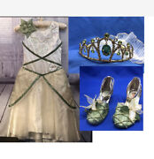 Disney Store Tiana Deluxe Wedding Costume Dress M 5-6 Shoes 11-12 And Veil