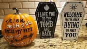 Halloween Decor Wood Coffin Signs Trick Or Treat Pumpkin Home Office Party Decor