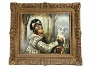 Anthropomorphic Monkey With Dog Oil Painting Donald Roller Wilson Style 23x19.5