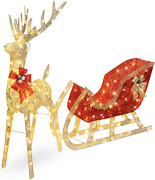 Christmas Lighted Reindeer And Sleigh Outdoor Yard Decoration Set Led Stakes 6ft