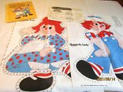 Lot Raggedy Ann And Andy Vintage Fabric Panel '78 Spring Mills+ Book T2