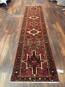 Genuine Hand Knotted Gharajeh Vintage Tribal Geometric Runner Rug 2and0395x11andrsquo11582