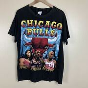 Vintage 90s Chicago Bulls Rap Tee 1996 World Champions T-shirt Partial Dry Rot