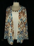 Alfred Dunner Plus Size 1x Shirt Top Blue Brown Layer Look Sparkles Long Sleeve