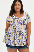 Bnwt Torrid Plus Size 2 18/20 Floral Babydoll Tiered Top Very Soft