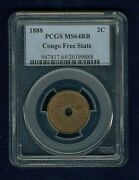 Congo Free State 1888 2 Centimes Coin Certified Choice Uncirculated Pcgs Ms64-rb