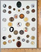 Card Of 39 Antique To Modern Buttons Assorted Heads 13 Many Styles/materials