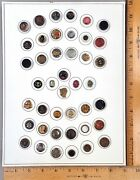 Card Of 42 Antique Buttons Assorted Small Heads 8 Many Styles And Materials