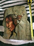 Indian Paint On Slate Rock Artist J Lewis 93and039 Member Of The Potawatomi Tribe