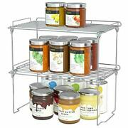 Stackable Cabinet Shelf Kitchen Cabinet Organizers And Storage, 2 Pack Silver