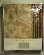 Kingswood Shower Curtain - Burgundy And Green / Light Brown 72x72 Jc Penney New