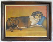 Dogs Folk Art Vintage Painting Naive 2 Mutt Doxie Pals Cuddled Up Pets Modernist