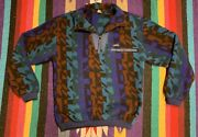 Vintage 80s/90s Colorful Fleece Pullover Made In Usa Medium Wyoming Woolage Blue