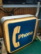 Vintage Bell Telephone Pay Phone Booth Square Lighted Sign And Bracket Working