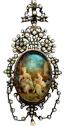 Large Antique Victorian French 14k Gold Silver Pearl Portrait Pendant Locket