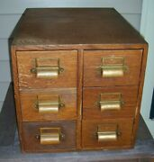 Antique Oak 6 Drawer Library Catalogue Card File Cabinet