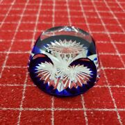 Baccarat France Crystal Clear And Cobalt Blue Round Dome Shaped Paperweight Euc
