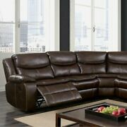 Living Room Brown Leatherette Motion Recliner Sectional Console Wood Plush Couch