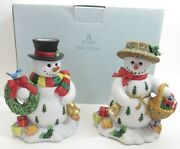 Partylite Snowbell Taper Candle Holder Pair Christmas Snowman With Box