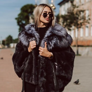 New Natural Mink Fur Coat Women Plus Size Black Jackets With Fox Fur Hood Outfit