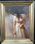 Pretty 1960s French Impressionist Oil Painting Of Lady In Dress By Pino
