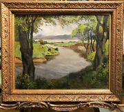 Rare Oil Painting Post War 1949 French School 20th Century In A Gold Gilt Frame