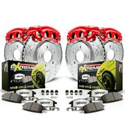 Kc2220a-26 Powerstop 4-wheel Set Brake Disc And Caliper Kits Front And Rear New