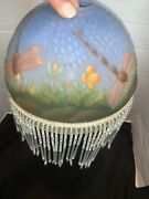 Vintage Glass Hand Painted Dragonfly Globe Shade Boudoir Lamp Beaded