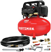 Portable Air Compressor 6 Gallon Pancake Oil-free With 13 Piece Accessory Kit