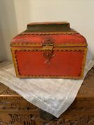 Vtg Solid Wood Red Box Trunk Chest Large Folk Farm Style Scalloped Edge Carving