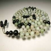 Natural African Jadeite 108 Beads Tassel Knotted Necklace Fancy Healing Colorful