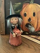 Halloween Poliwoggs Witch Standing Figurine With Jack-o-lantern