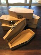 Lot Of 6 Unfinished Mini Wood Coffin Hinged Halloween Craft Wooden Casket Box