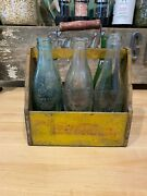 Ww 2 Vintage Wooden Coke Bottle Carrier With Old Collectible Bottles
