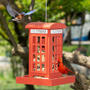 Nerosun Wooden Hanging Wild Bird Feeders For Outside, Red British Phone Booth Bi